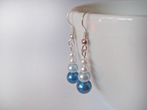 Naušnice - voskované korálky modré