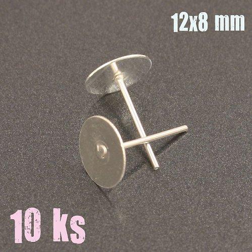Stříbrné náušnicové puzety 12x8mm 10ks