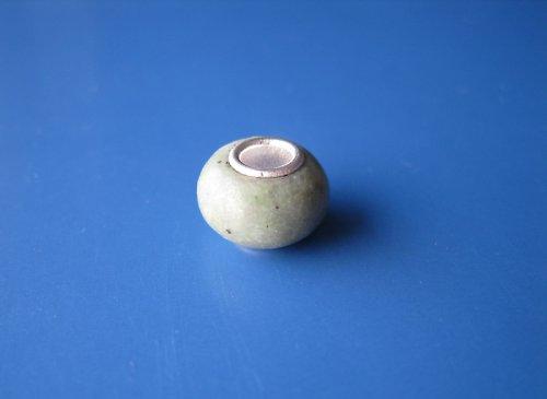 Korálek - jádro stříbro 925 - kámen zeleno/bílá