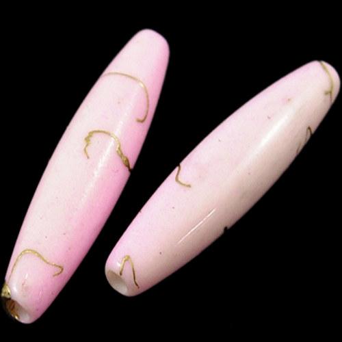 akrylové korálky žíhané/ růžové / 28x7mm/ 4ks