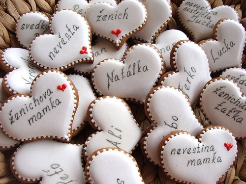 Perníkové svatební srdíčka-jmenovky 10 ks