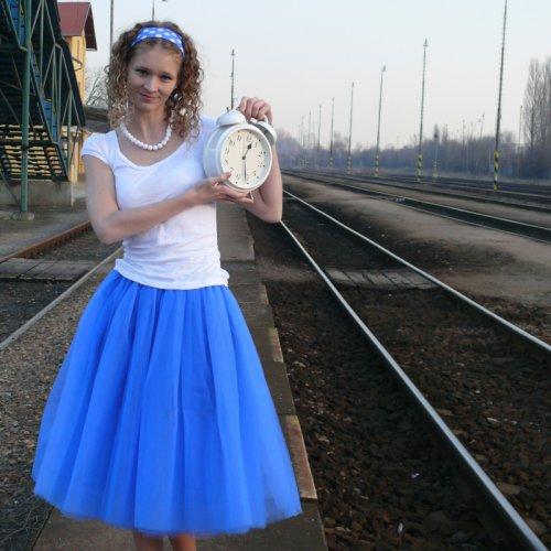 Modrá tylová sukně-SKLADEM