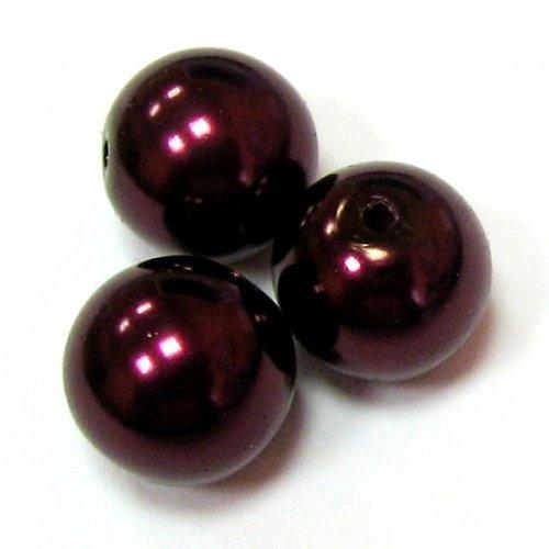 Perly voskové - 12 mm - vínové - 5 ks