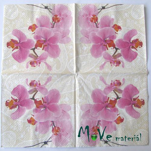 Ubrousek na decoupage 33 x 33cm 1ks, orchidej