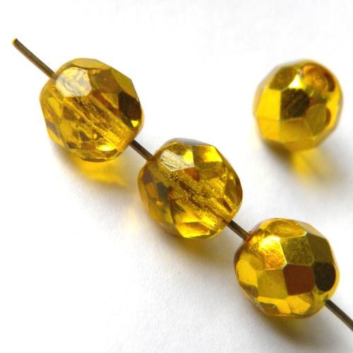 Broušené zlatožluté korálky - 8 mm - 10 ks