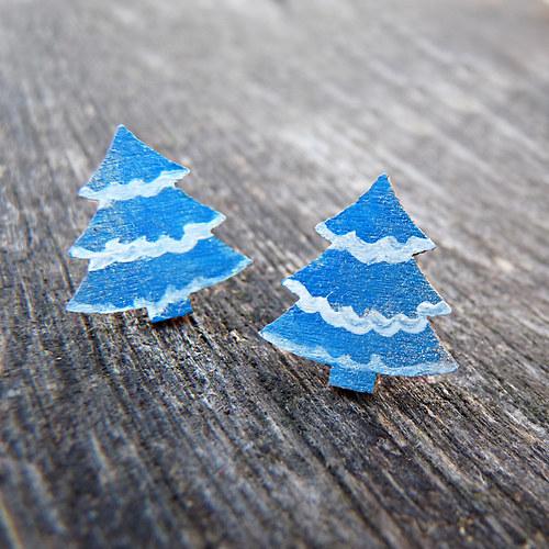 zimní vlnkaté stromečky – náušnice