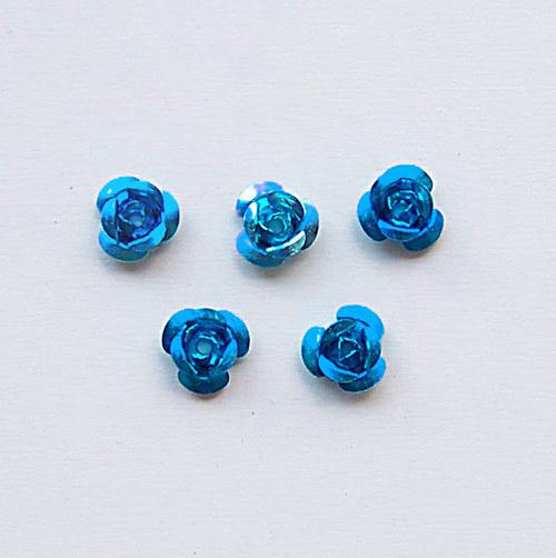 kovový korálek růže/ modrá/ 6,5mm/ 10 ks
