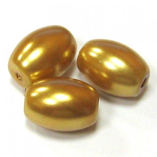Perly voskové ovál - zlatá - 5 ks