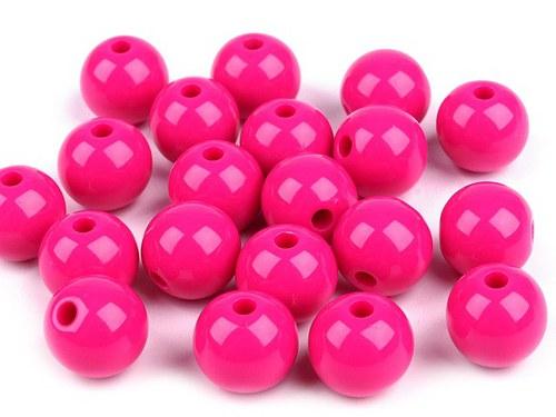 Plastové korálky 12mm kulička / růžová (10ks)