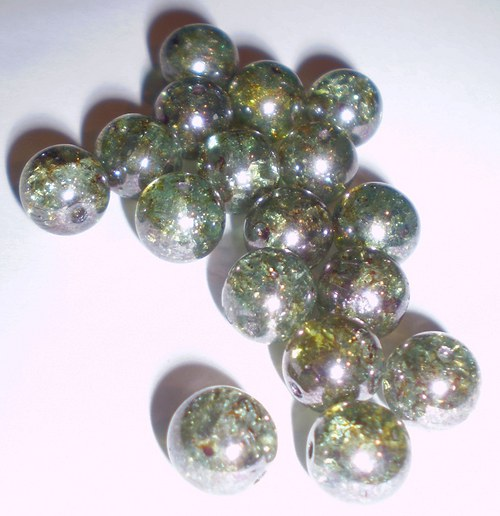 Praskané skleněné korálky 7 mm, 50 ks