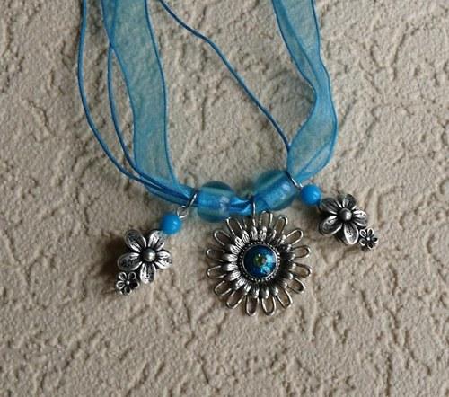 náhrdelník modrý - květinový - organza