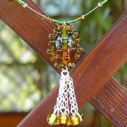 Náhrdelník dvoubarevná oliva - zeleno - hnědá