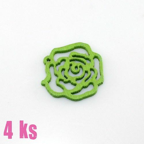 Dřevěný přívěsek - malá zelená růže, 4 ks