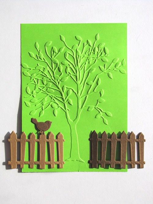 Strom, ploty a ptáček - barva podle přání