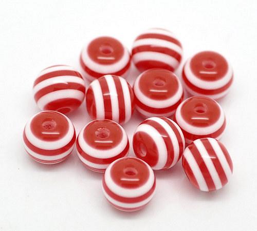 kuličky pruh /plast /6mm/ červenobílá/ 20ks