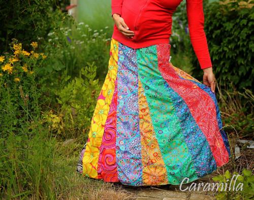 Dlouhá nabíraná sukně DUHA M-XL