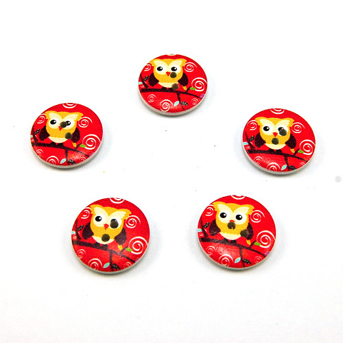 knoflík dřevěný kulatý sova červená - 5ks