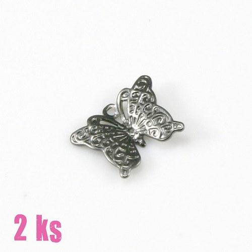 Filigrán - motýlek, gunmetal (2 ks)