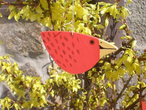 Ptáček na pověšení - červený