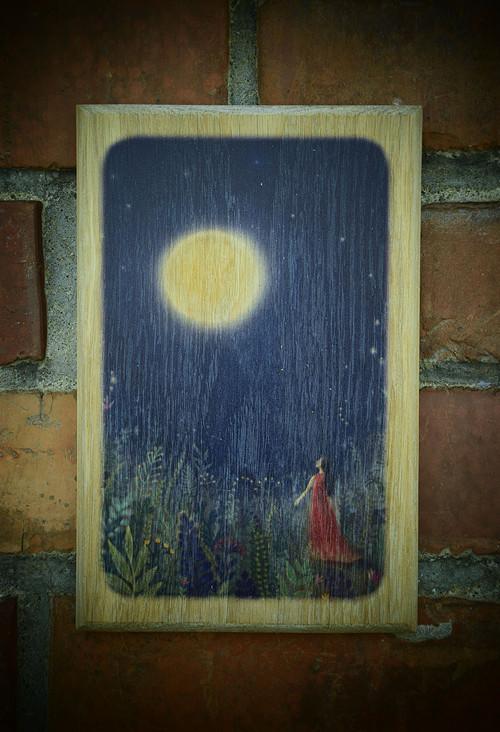 Dřevěný obrázek - Ve svitu luny