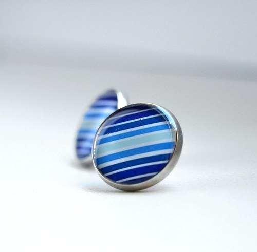 Proužkaté v modrých odstínech - 16mm