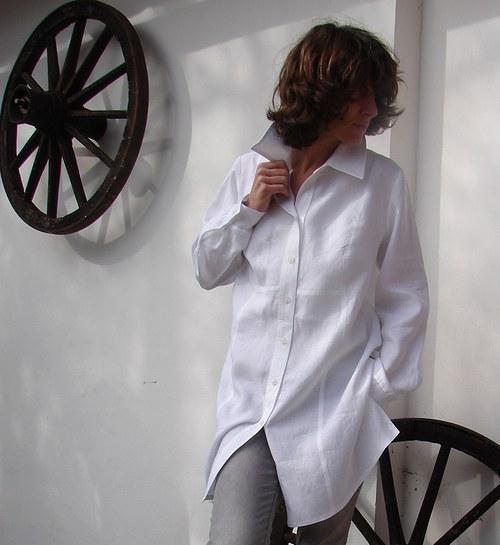 Košilo-halenka Flower z jemného lnu