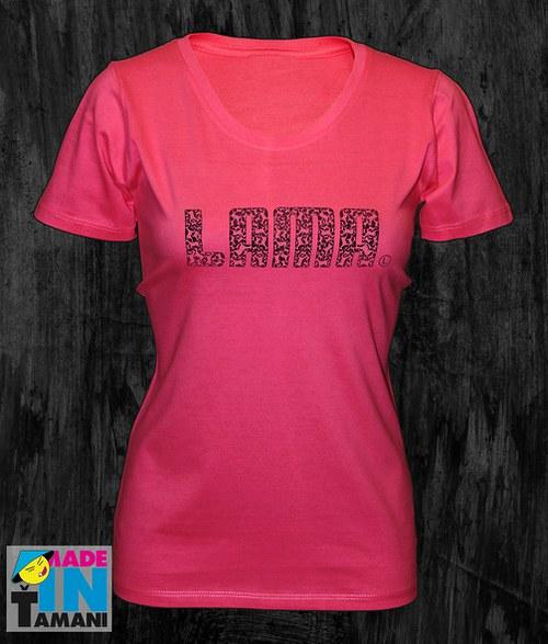 Dámské růžové tričko s Lamou potisk 04