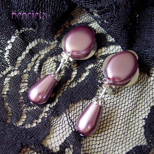 Perlové klipsy - fialové