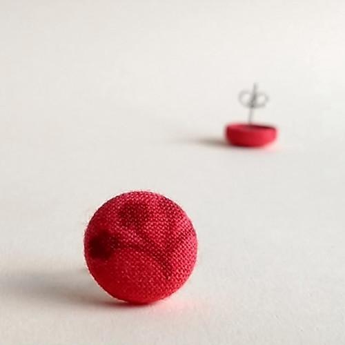 Náušnice butonky červené