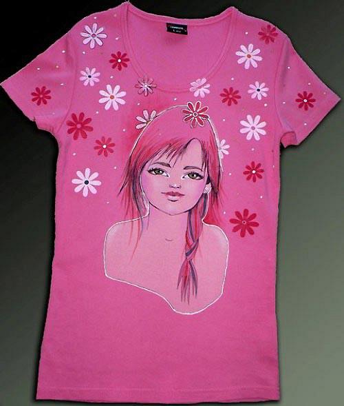 Dívčí/dámské tričko v růžové - vel. L