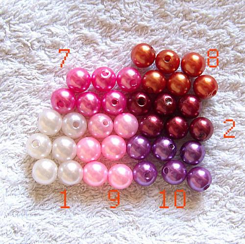 perly voskové/ fialová č.10/ 10mm/ 12ks
