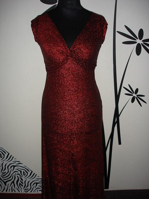 červené třpytivé společ.šaty  vel.40-42