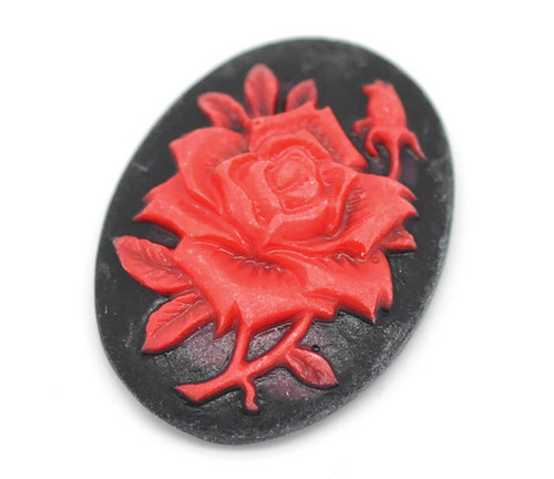 kamej růže červená, 25x18 mm, 1ks