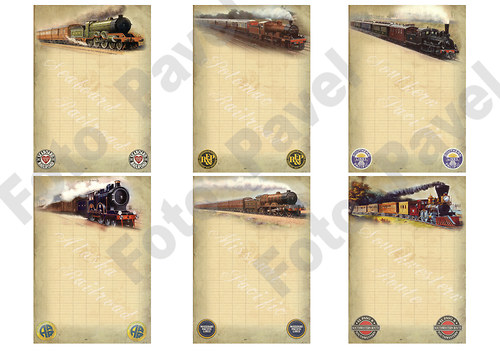 Vintage kartičky (journaling) - staré vlaky