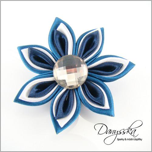 Saténová květina - brož 240