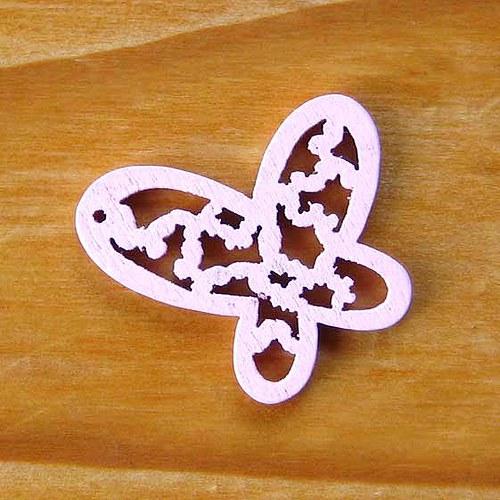 Dřevěný Motýlek - Růžový