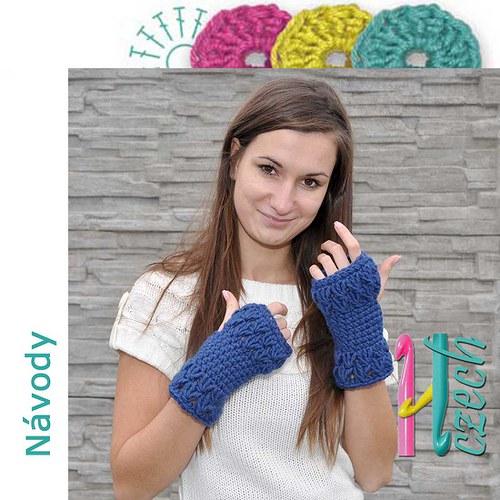 Háčkované rukavice.