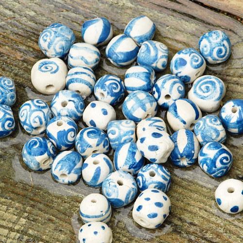 keramický korálek bílá hlína