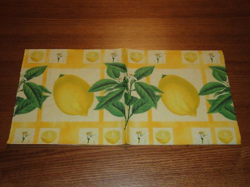Ubrousek na decoupage - citron a máta