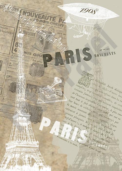 Vintage papír A5 - Paříž