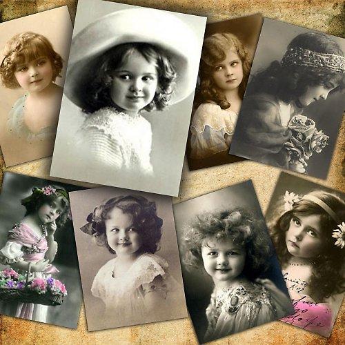 Nažehlovací obrázky-Vintage děti- 8 kusů
