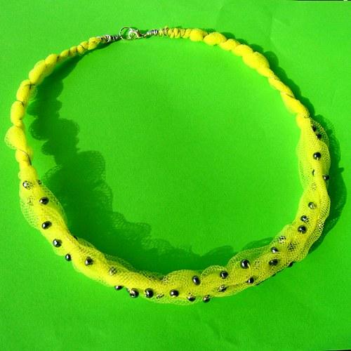 tylový náhrdelník citronově žlutý