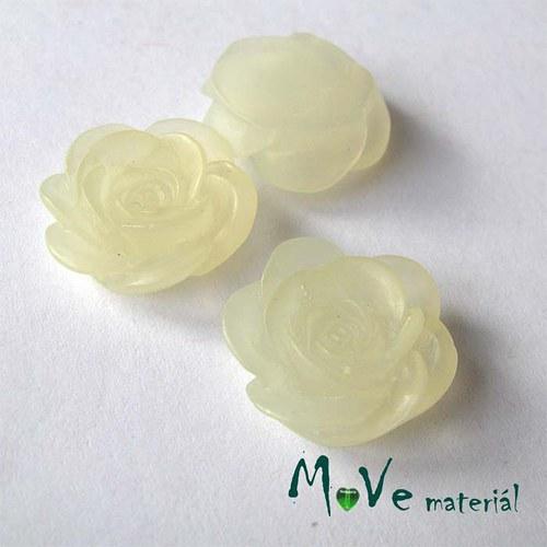 Kabošon květ transparent A4- resin - 2ks, krémový