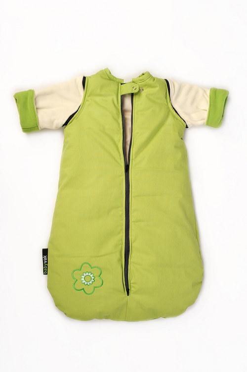 spací pytel menší s fleecovými rukávy zeleno-bílý