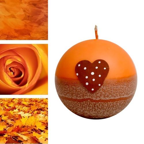 svíčka SRDÍČKO koule pr. 10 cm oranžová