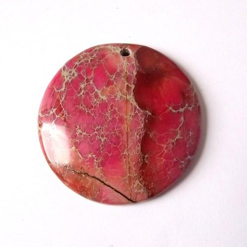 Variscit - růžový kabošon vrtaný - 4x4x0,4