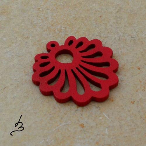Dřevěný vějířek červený - 4 ks