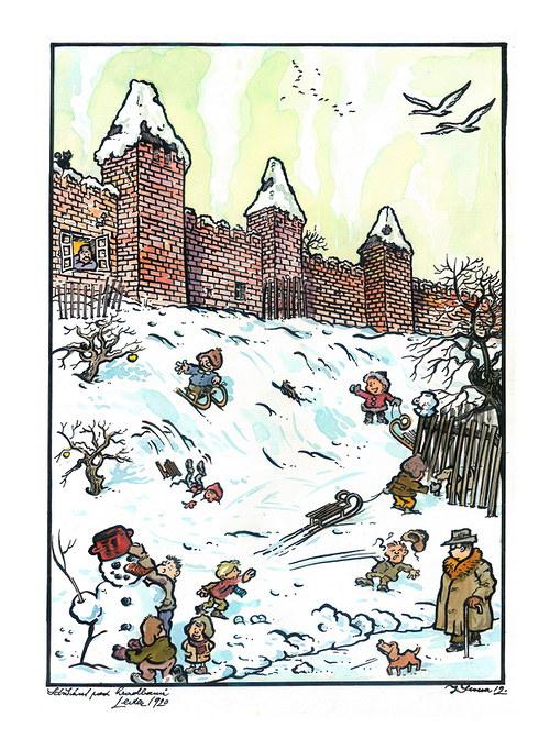 Jan Severa - Sáňkání pod hradbami - leden 1920