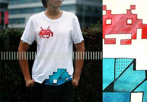 HANDMADE tričko se spaceinvadery