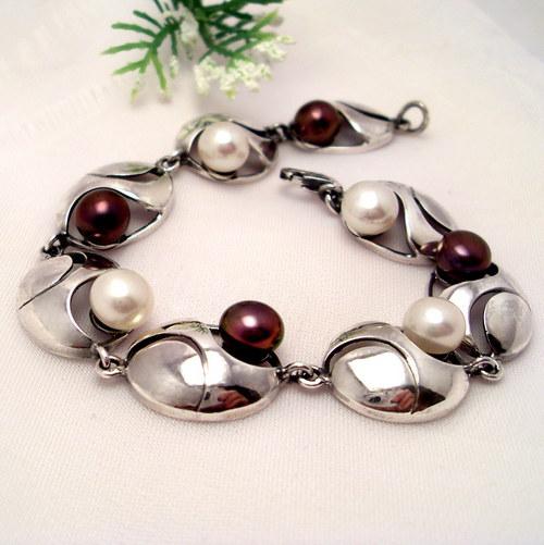 Náramek «Břízový vítr»  perly, stříbro